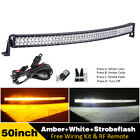 Off road Curved Led Light Bar Amber White Strobe Emergency Warning Driving Lamp