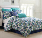 8 Piece Alegro Navy/Spa Blue/Citron Comforter Set image