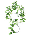 3/5x Artificial White Rose Silk Flower Green Leaf Vine Wedding Home Decor Usa