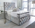 LUXURY CRUSHED VELVET BED + MEMORY MATTRESS + HEADBOARD 3FT 4FT 4FT6 Double 5FT