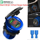 Fast Car Charger Socket Outlet W/QC 3.0 Dual USB Ports For Car Boat Motorcycle