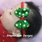 Christmas Candy Canes Dainty Hair Bow Lace Headband 4 Preemie to Toddler Cute On