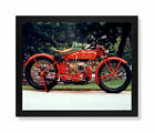 Old Red Vintage Indian Motorcycle Wall Picture Framed-Unframed Art Print