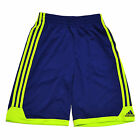 Adidas Shorts Boys Kids Sport Track Solid Blue Neon Green Polyester Basketball