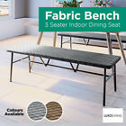 3 Seater Indoor Dining Bench Upholstered Fabric Seat Furniture Dark Grey Brown