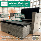 2 Seater Sofa PE Wicker Outdoor Daybed Set Furniture Setting Garden Love Seat