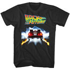 Back to The Future Flaming DeLorean Men's T Shirt Tail Lights Movie Merch Vintag
