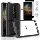 For Nokia 6.1 Plus/3.1/X6 Shockproof Bumper Clear Case+Full Glue Tempered Glass