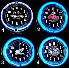 "TRIUMPH, HONDA, VICTORY & NDIAN MOTORCYCLES LOGO 11"" Blue Neon Wall Clocks $69.99 USD on eBay"