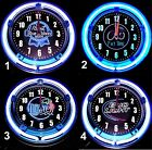 PBR, FAT TIRE, MILLER LITE & BUD LIGHT LOGOS 11 Blue Neon Wall Clocks