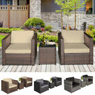 3pcs Patio 2 Seater Rattan Sofa Table Set Garden Furniture W/ Cushions Balcony