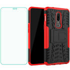 For OnePlus 7 6 5 T Pro Shockproof Hard Protective Kickstand Case+Tempered Glass