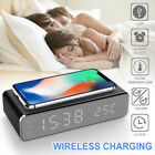 LED electric alarm clock with phone charger wireless desktop digital thermometer