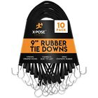 """Rubber Bungee Cords with Hooks 9 Inch (18"""" Max Stretch) Heavy-Duty Black"""
