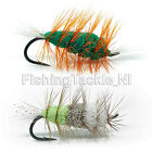 Bomber Dry Fly Salmon Bass Arctic Char Trout Flies Size 8 Green Machine Butt