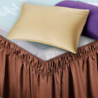 """Pleated Egyptian Solid Bed Skirt Luxury Microfiber Dust Ruffle 15"""" Tailored Drop image"""