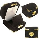 black velour gold treasure chest jewelry gift box for earrings necklace pin For Sale - 67