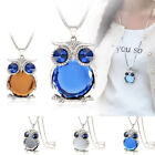 Multi Color Owl Rhinestone Crystal Pendant Necklace Long Sweater Chain Jewelry
