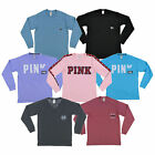 Victoria's Secret Pink T-Shirt Long Sleeve Graphic Tee Vs Logo Casual New Nwt