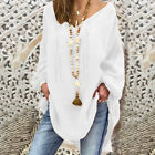 Women Solid Color Long Puff Sleeve V Neck Straps Loose Blouse T-shirt Novelty