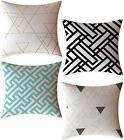 Feelathome Throw Pillow Covers Cases 18 X 18 Inches Set Of 4 (Modern Geometric)