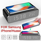 Electric LED Alarm Clock Phone Wireless Charger Desktop Digital Thermometer US