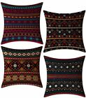 FeelAtHome Throw Pillow Covers Cases 18 x 18 Inches Set of 4 (Boho Accent)
