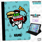 Personalised GAMER - Eat Sleep Game Case for iPad Leather Cover Video Games Gift