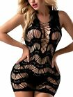 FasiCat Women's Mesh Lingerie for Women Fishnet Babydoll Mini Dress Free Size Bo