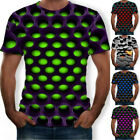 Women/Men 3D T-Shirt Funny Hypnosis Colorful Print Casual Short Sleeve Tee Tops image