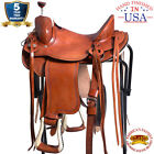 Western Horse Saddle Leather Cowboy Trail Ranch Roping Oiled U-L-VX