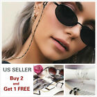 Eyeglass Chain Sunglasses Read Bead Glasses Chain Holder Eyewear Rope Necklace B image