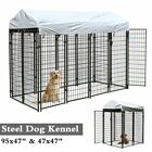 Outdoor Dog Kennel Steel Wire Pen Run House Covered Shade Shelter Yard Large