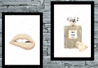 Set of 2 Wall Art beige Gold A4 home Room Bedroom Poster Prints Fashion