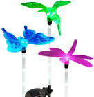 Solar Powered Garden Stake Outdoor 1 Led Color Change + 5 White Led Lights Mixed