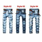 Men's Ripped Biker Jeans Skinny Jeans Men Distressed Slim Fit Denim Jeans