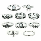 Set Of 10 Pieces Womens Moon Flower Geometric Boho Rings Trend Finger Jewerly X3