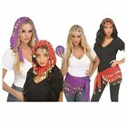 Women Bollywood Bellydance Halloween Costume Head Scarf Skirt Gold Coins Red Pur