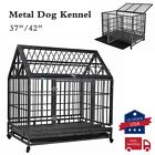"""37""""/42"""" Dog Crate Large Kennel Cage Heavy Duty Metal Playpen w/Tray&Wheels"""