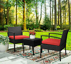 3pcs Wicker Rattan Patio Furniture Conversation Sofa Set Garden Outdoor Chairs