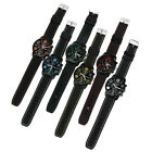 Men Casual Sports Wrist Watch Quartz Analog Silicone Band Stainless Steel Watch