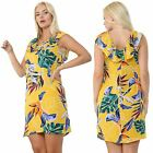 Ladies Dress Floral Beach Holiday Casual Summer Sleeveless Midi Crew Neck Top