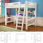 Cabin Beds High Sleeper Bunk Pine Wood with Ladder Loft Or Metal Frame with Desk