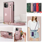 New Crossbody Wallet Card Slot Wrist Strap Pu Leather Stand Lanyard Case Cover