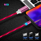 360° Rotate Magnetic LED Light Flowing Cable USB Phone 8 Pin Charger For iPhone