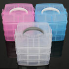 3 Tier Clear Plastic Jewelry Bead Storage Box Container Craft Organizer Case