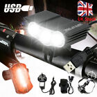 LED Mountain Bike Lights Bicycle Torch Front & Rear Lamp USB Rechargeable UK