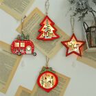 1Pcs Christmas Wooden Hanging LED Light Tree Car Ball Star Ornament Decoration
