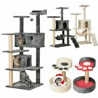 43-139 cm Multilevel Cat Tree Tower Cat Scratching Post Climbing Activity Centre
