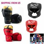 Boxing MMA Gloves with Kick  Fighting Training Headgear Face Helmet head Guard